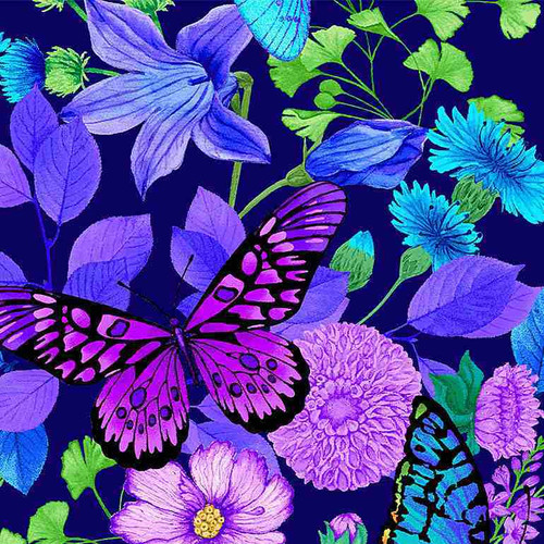 Timeless Treasures Forest Magic Large Floral Butterfly Blue 100% Cotton (TT Forest Magic 5)