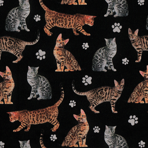 PREORDER: The Vintage Sweetheart Pedigree Bengal Cats Black 100% Cotton (VS Bengal Cat PREORDER by half metre)