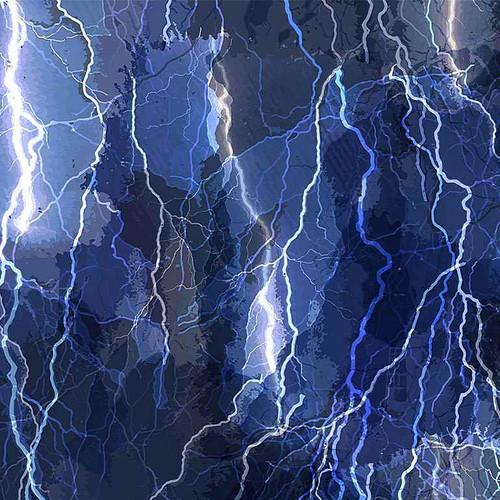 Timeless Treasures Aurora Crackling Lightning Bolts Blue 100% Cotton (TT Crackling Lightning Bolts)
