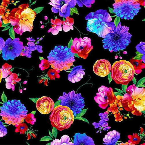 Timeless Treasures Butterfly Magic Bright Florals Black 100% Cotton (TT Butterfly Magic 1)