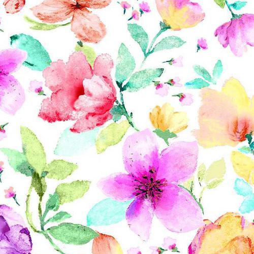 Timeless Treasures Spring Song Medium Watercolour Spring Florals White 100% Cotton (TT Spring Song 1)