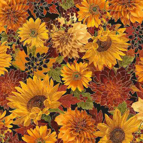 Timeless Treasures Fall Glory Metallic Autumn Flowers Warm Brown 100% Cotton (TT Autumn Flowers)