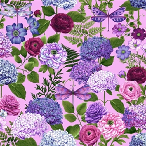 Henry Glass & Co. Dragonfly Garden Hydrangea Bouquets Pink 100% Cotton (HG Dragonfly Garden 11)