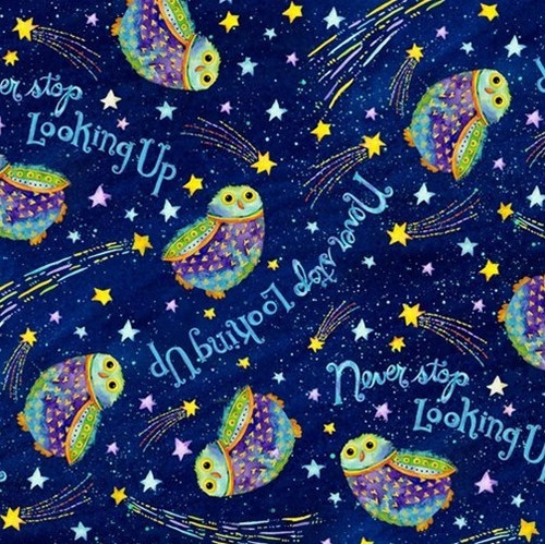 Henry Glass & Co. Stay Wild Moon Child Owls In Night Sky Navy 100% Cotton Remnant (51 x 112cm HG Stay Wild 3)