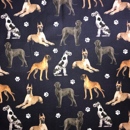 The Vintage Sweetheart Dog Breeds Great Danes on Navy 100% Cotton Remnant (47 x 47cm VS Great Danes)