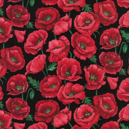 Red Poppies Blossom Black 100% Cotton (Blooming Poppies)