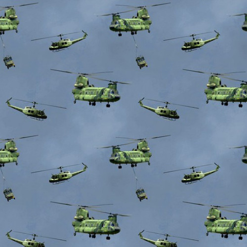 Kennard & Kennard Battlezone Air Force Army Helicopters Blue 100% Cotton (Battlezone 2)