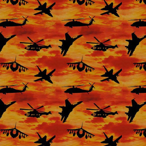 Kennard & Kennard Remembering Fighter Jets Aeroplanes Sunset Orange 100% Cotton (Fighter Jets)