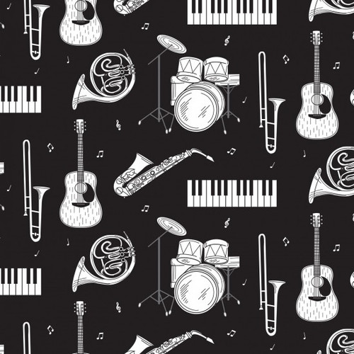 Nutex Music Band Instruments Black 100% Cotton (Music 1)