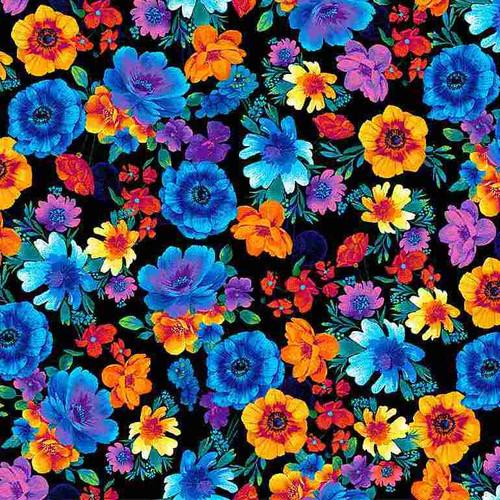 Timeless Treasures Glow Rainbow Tossed Flowers Black 100% Cotton (TT Glow 4)