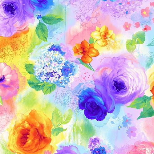 Timeless Treasures Rain Blossom Colourful Roses 100% Cotton Remnant (51 x 56cm TT Rain Blossom Roses)