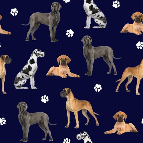 The Vintage Sweetheart Great Danes Dogs Dark Blue 100% Cotton (VS Great Danes - 1 METRE PIECE)