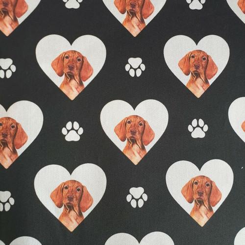 The Vintage Sweetheart Visla Dogs Heart Black 100% Cotton (VS Visla - 1 METRE PIECE)