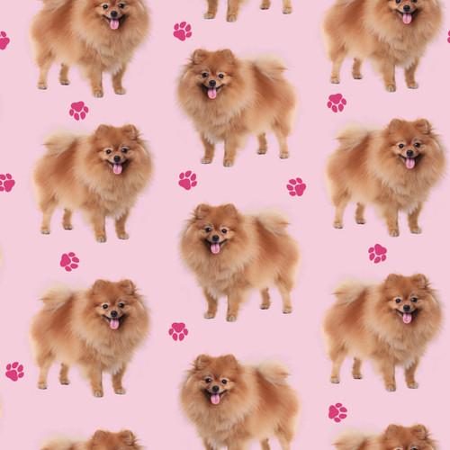 The Vintage Sweetheart Pomeranian Dogs Pink 100% Cotton (VS Pomeranian - 1 METRE PIECE)