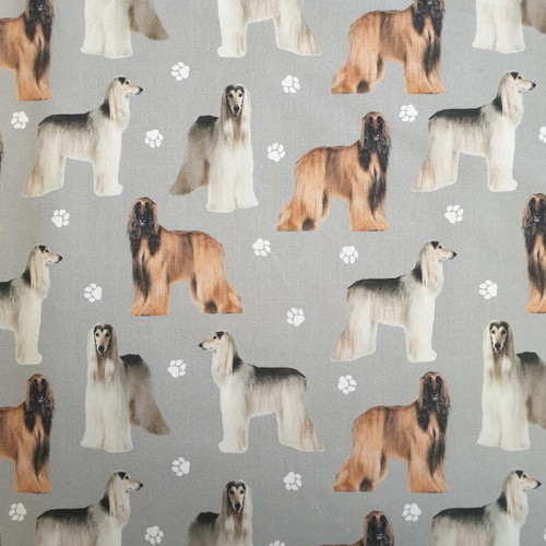 The Vintage Sweetheart Afghan Hound Dogs Grey 100% Cotton (VS Afghan Hound - 1 METRE PIECE)