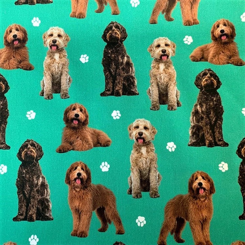 The Vintage Sweetheart Labradoodle Dogs Green 100% Cotton (VS Labradoodle - 1 METRE PIECE )