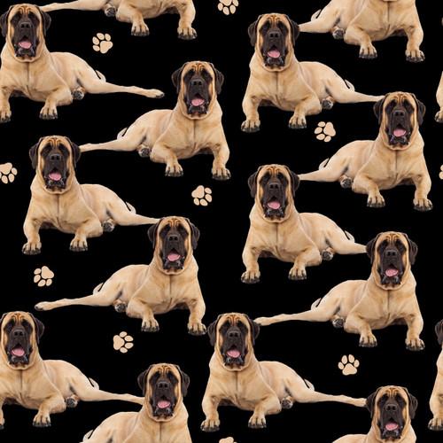 The Vintage Sweetheart English Bull Mastiff Dogs Black 100% Cotton (VS English Bull Mastiff  - 1 METRE PIECE)