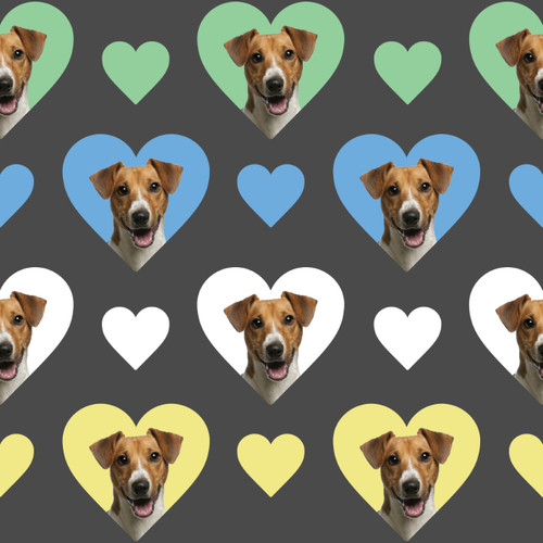The Vintage Sweetheart Jack Russell Dogs Hearts Grey 100% Cotton (VS Jack Russell - 1 METRE PIECE)