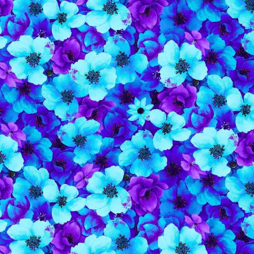 Timeless Treasures Blue & Purple Flowers 100% Cotton Remnant (51 x 55cm TT Packed Night Bloom Florals 2)