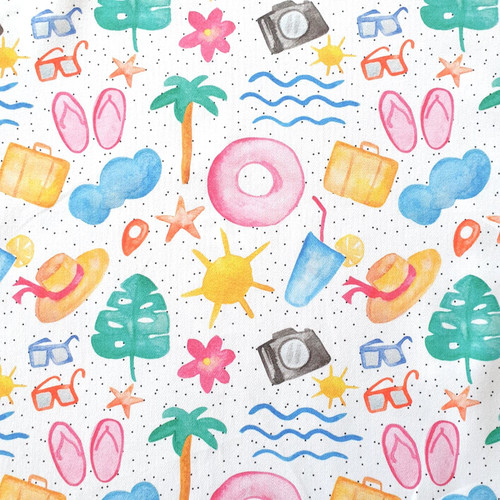 The Vintage Sweetheart Summer Holidays White 100% Cotton (VS Summer Time - 1 METRE PIECE)
