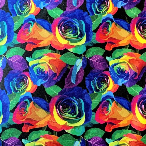 The Vintage Sweetheart Rainbow Roses Multicoloured 100% Cotton (VS Rainbow Roses - 1 METRE PIECE)