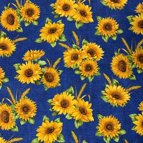 Benartex Accent On Sunflowers Sunflower Dance Blue 100% Cotton Remnant (51 x 55cm Benartex Accent On Sunflowers 1)