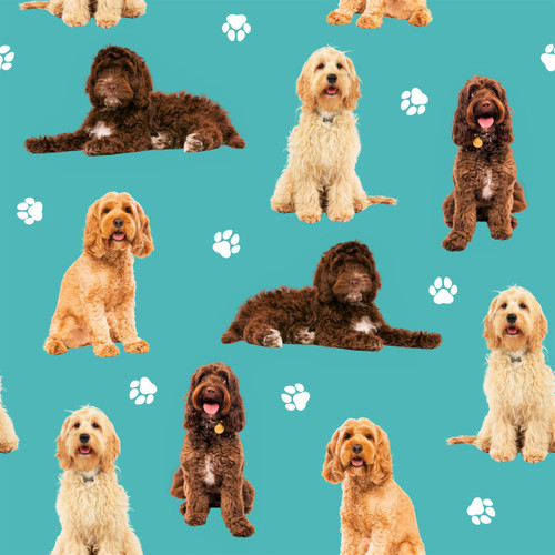 The Vintage Sweetheart Cockapoo Dogs Blue 100% Cotton Remnant (34 x 156cm VS Cockapoo)