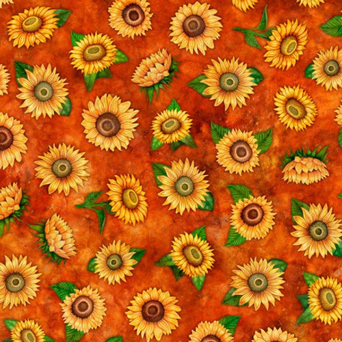 Quilting Treasures Always Face Sunshine Tossed Sunflowers Rust 100% Cotton (QT Always Face 3)