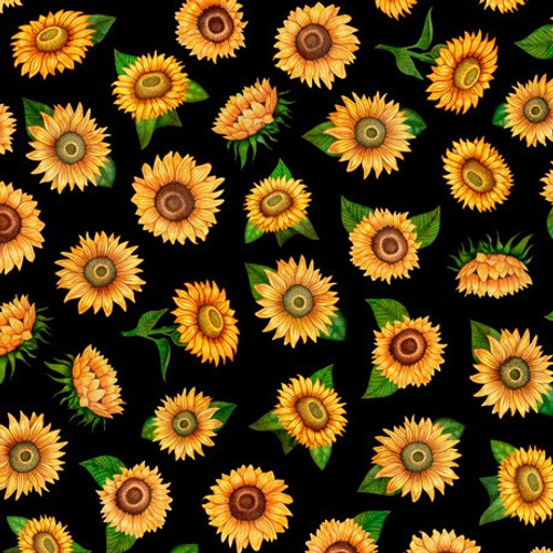 Quilting Treasures Always Face Sunshine Tossed Sunflowers Black 100% Cotton (QT Always Face 5)