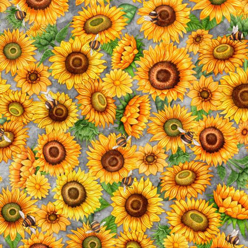 Quilting Treasures Always Face Sunshine Packed Sunflowers & Bees Grey 100% Cotton (QT Always Face 7)