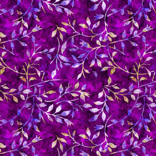 Chatham Glyn Batik Trail Leaves Violet Purple 100% Cotton (CG Batik Trail 2)