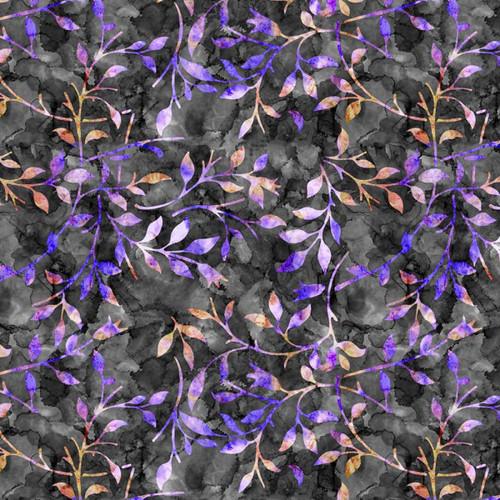 Chatham Glyn Batik Trail Leaves Black Purple 100% Cotton (CG Batik Trail 3)