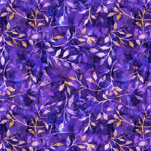 Chatham Glyn Batik Trail Leaves Purple 100% Cotton (CG Batik Trail 5)