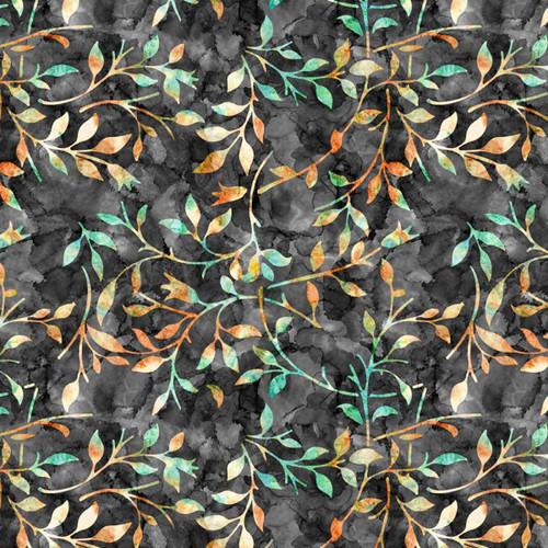 Chatham Glyn Batik Trail Leaves Black Grey Orange 100% Cotton (CG Batik Trail 6)