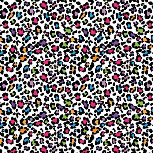 Chatham Glyn Bright Funky Snow Leopard Animal Print Skin White 100% Cotton (CG Bright Funky Snow Leopard)