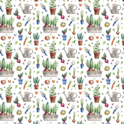 Chatham Glyn Gardens Vegetable Plants White 100% Cotton (CG Gardens)