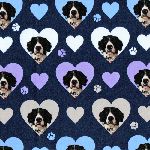 The Vintage Sweetheart Sprollie Dogs Hearts Blue 100% Cotton (VS Sprollie -1 METRE PIECE)
