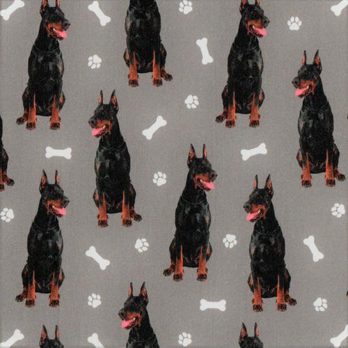 The Vintage Sweetheart Dobermann Dogs Grey 100% Cotton (VS Dobermann -1 METRE PIECE)