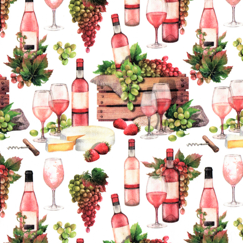 The Vintage Sweetheart Vineyard Grapes Wine & Cheese White 100% Cotton (VS Wine & Dine -1 METRE PIECE)