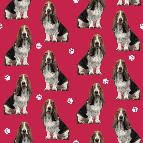 The Vintage Sweetheart Basset Hound Dogs Red 100% Cotton (VS Basset Hound - 1 METRE PIECE)
