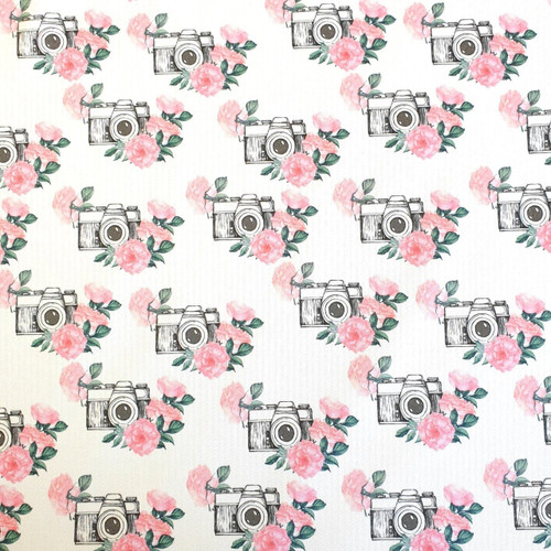 The Vintage Sweetheart Floral Camera White 100% Cotton (VS Photography - 1 METRE PIECE)