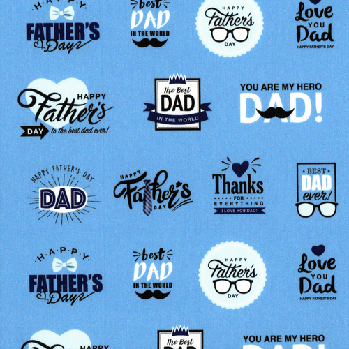 The Vintage Sweetheart Happy Father's Day Blue 100% Cotton Remnant (46 x 156cm VS Happy Father's Day)