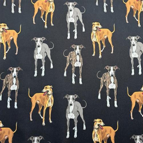 The Vintage Sweetheart Italian Greyhound Dogs Very Dark Navy 100% Cotton Remnant (49 x 156cm VS Italian Greyhound)