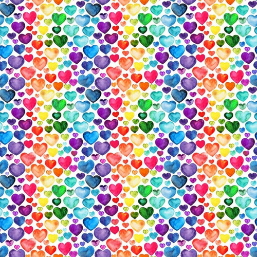 Chatham Glyn Rainbow Love Hearts White 100% Cotton (CG Love Hearts)