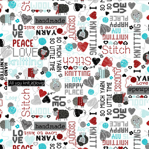 Kanvas Studio All You Knit is Love Hand Knitted Words White 100% Cotton (KS All You Knit is Love 1)