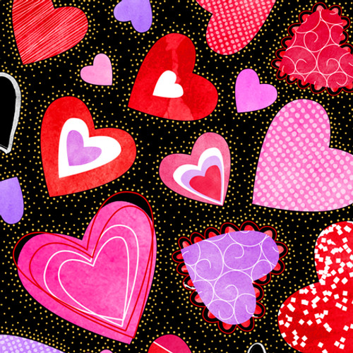 Quilting Treasures Sweethearts Large Hearts Black 100% Cotton (QT Sweethearts 1)
