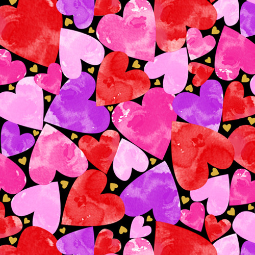 Quilting Treasures Sweethearts Packed Hearts Black 100% Cotton (QT Sweethearts 3)