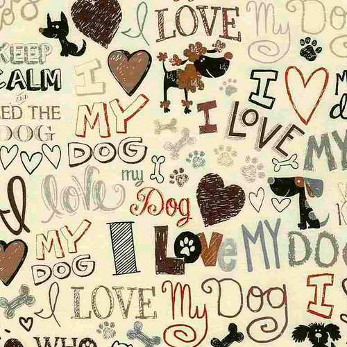 Timeless Treasures Words I Love My Dog Cream 100% Cotton Remnant (33 x 112cm TT My Dog Cream)