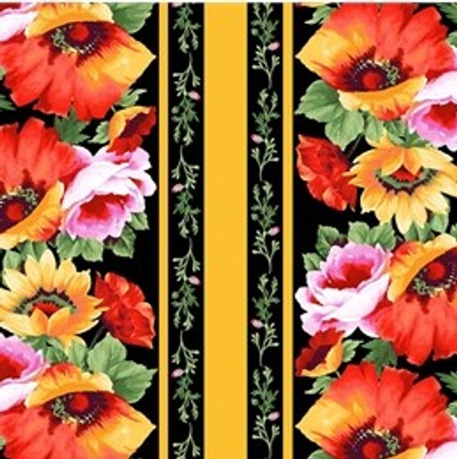 Michael Miller's Floral Poppy with Yellow Border 100% Cotton Remnant (48 x  54cm MM Blooms of Beauty 5)