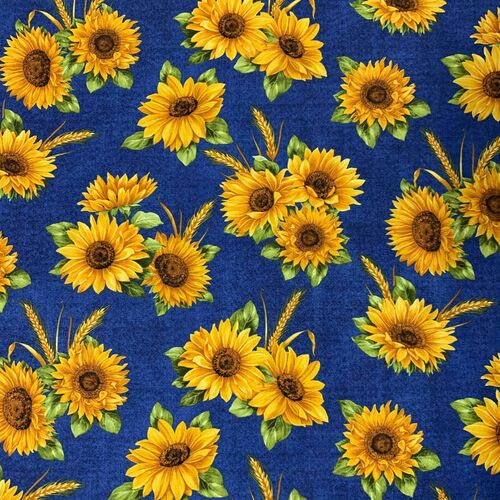 Benartex Accent On Sunflowers Sunflower Dance Blue 100% Cotton Remnant (50 x 55cm Benartex Accent On Sunflowers 1)